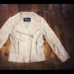 GUESS faux leather snakeskin print moto jacket